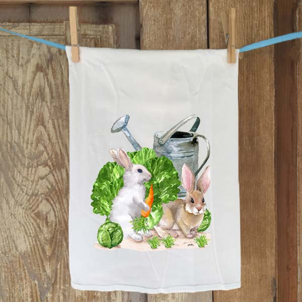 Bunnies in Garden Flour Sack Towel