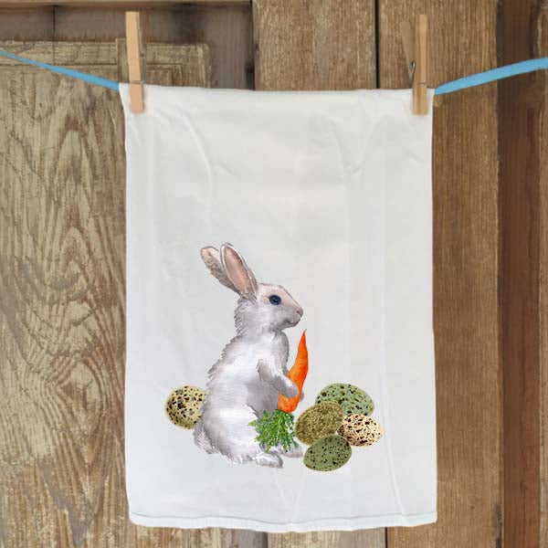 White Bunny with Eggs Flour Sack Towel