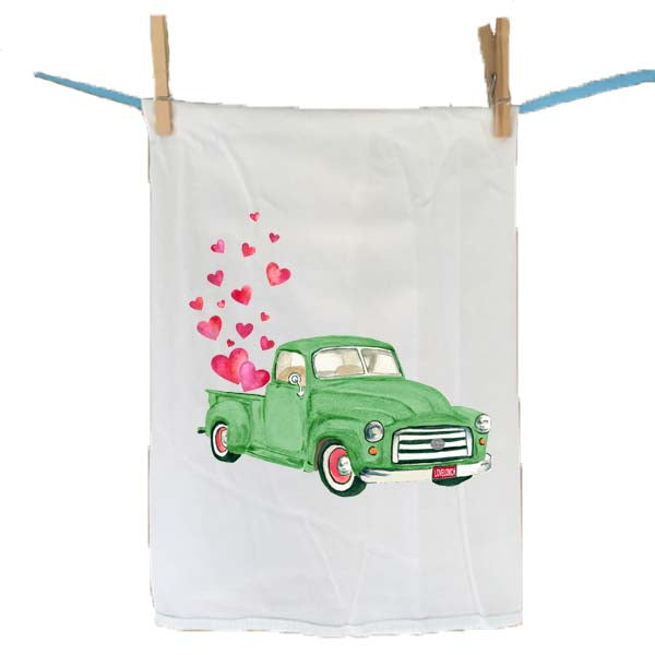 Green Truck with Hearts Flour Sack Towel