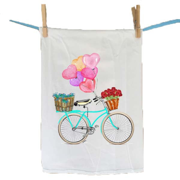 Teal Bike Bushel Crabs and Heart Balloons Flour Sack Towel