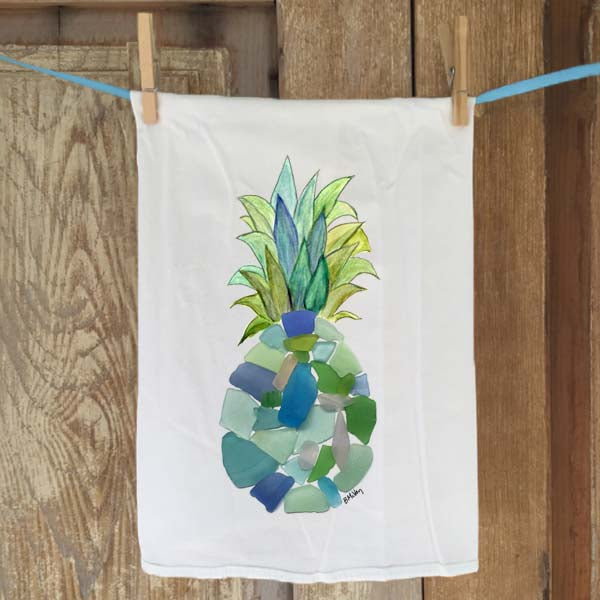 Sea Glass Pineapple Flour Sack Towel