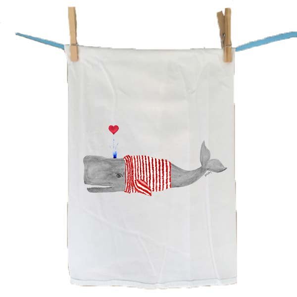 Whale in Striped Sweater Flour Sack Towel