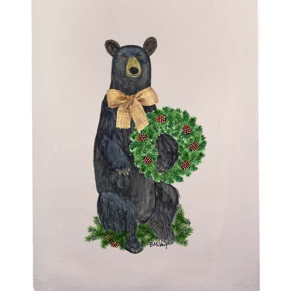 Bear Evergreen Wreath Fingertip Towel