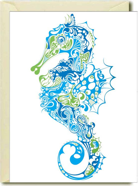 Blue Green Seahorse Boxed Note Cards