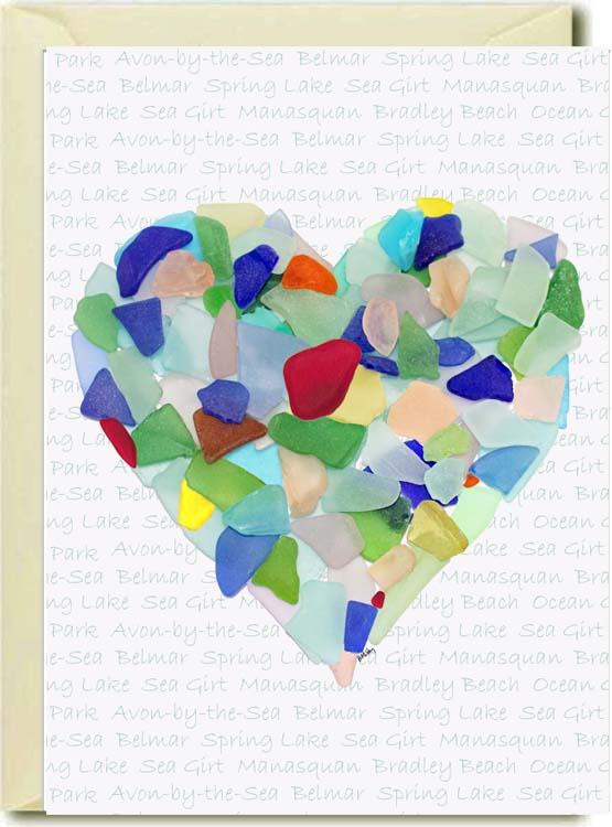 Sea Glass Heart-NJ Town Names Boxed Note Cards