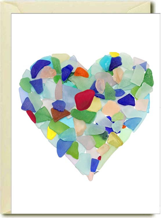 Sea Glass Heart Boxed Note Cards
