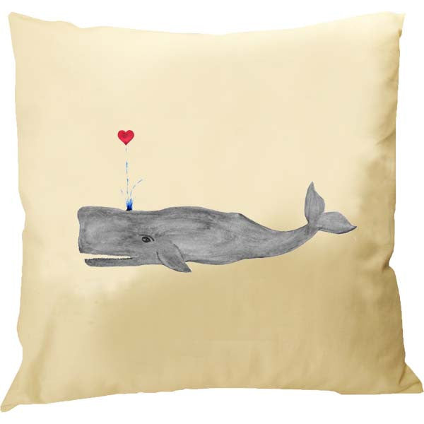 Grey Whale with Heart  Pillow