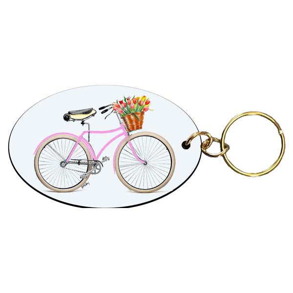 Pink Bike with Flowers Keychain