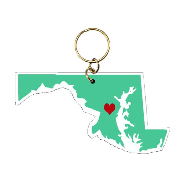 Maryland with Heart Keychain