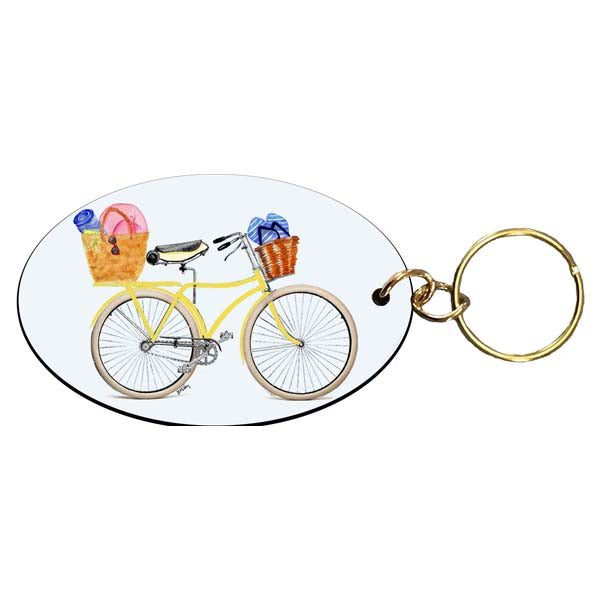 Yellow Bike with Flip Flops Keychain