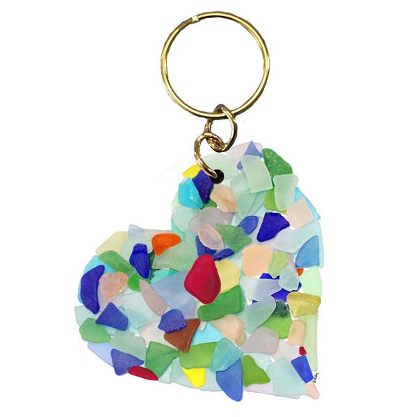 Sea Glass Heart Keychain