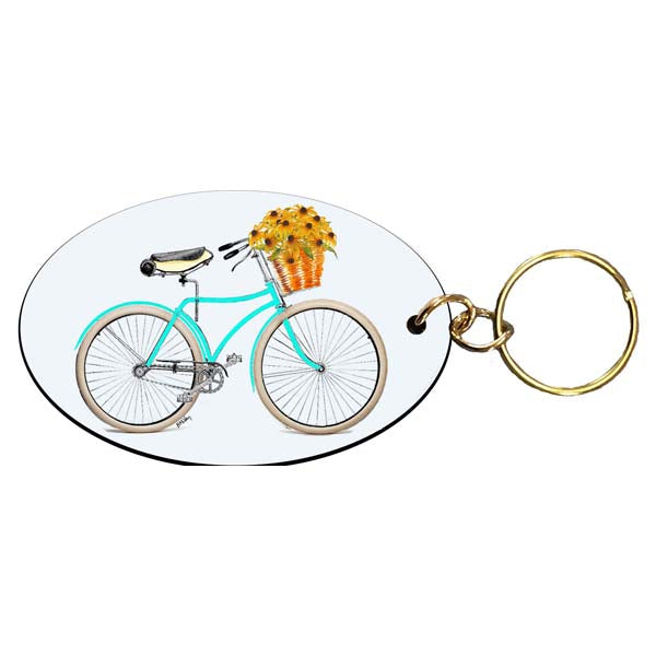 Teal Bike with Black-Eyed Susans Keychain