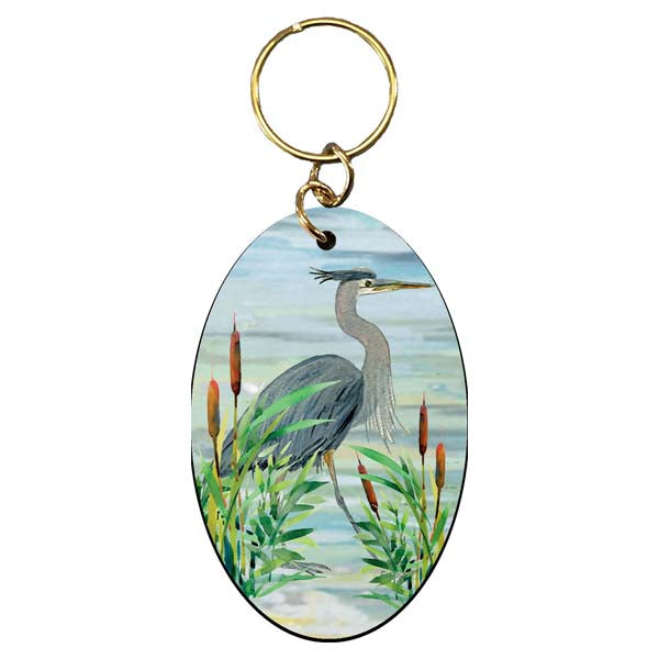 Heron in Marsh Keychain