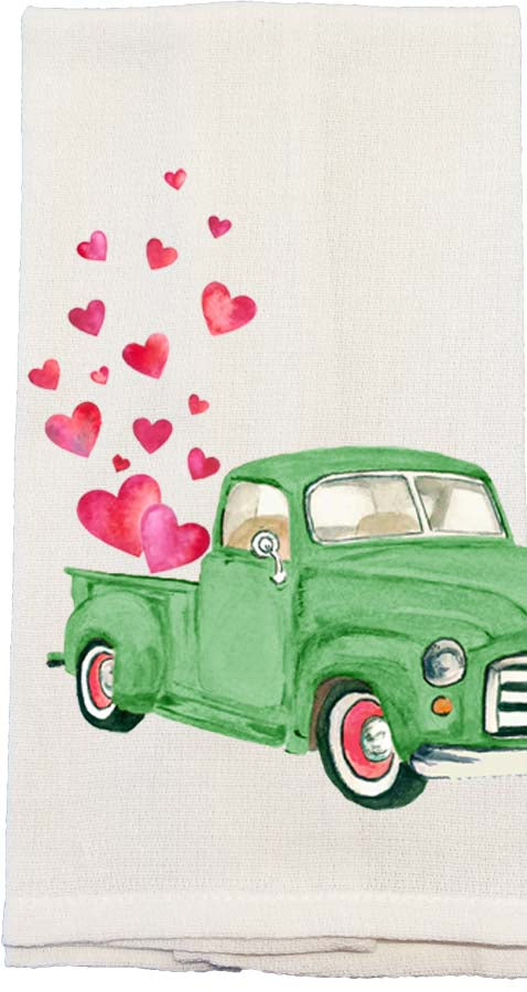 Green Truck Hearts Kitchen Towel