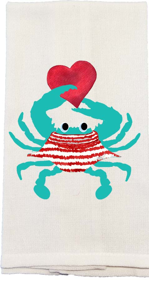 Crab with Heart in Striped Sweater Kitchen Towel