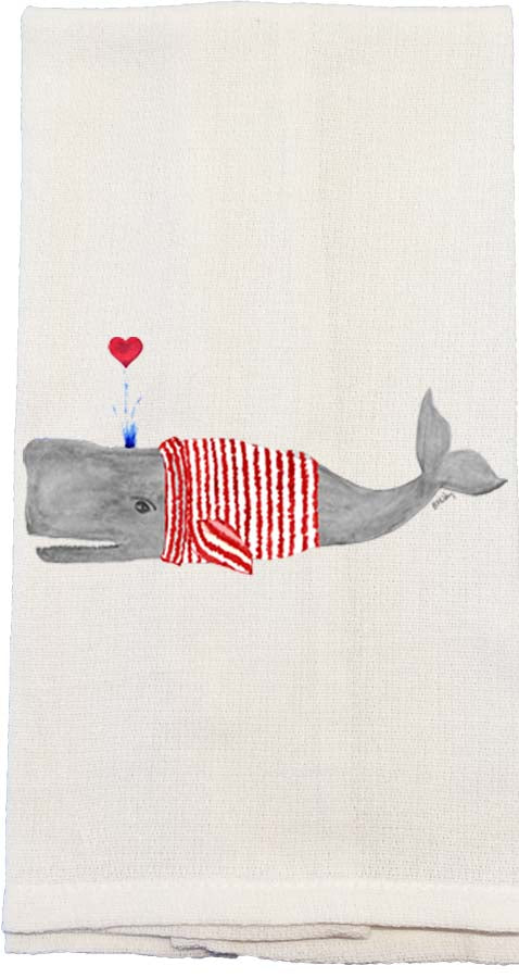 Whale In Striped Sweater Kitchen Towel