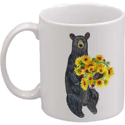 Black Bear Sunflowers Classic Mug
