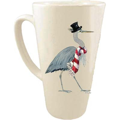 Heron in Top Hat & Scarf Latte Mug