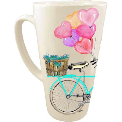 Teal Bike Crabs Heart Balloons and Flowers Latte Mug