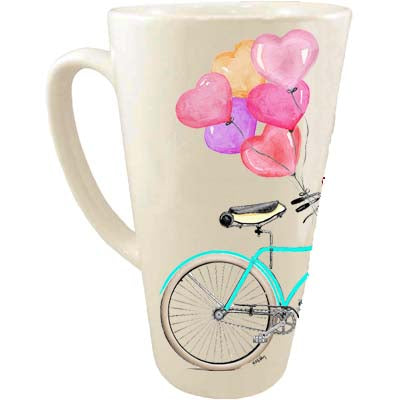 Teal Bike Heart Balloons Latte Mug