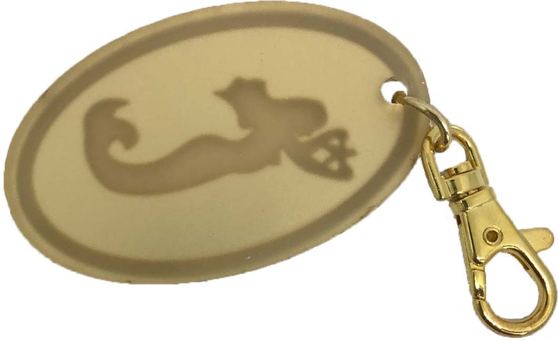Mermaid Etched on Oval Bag Charm