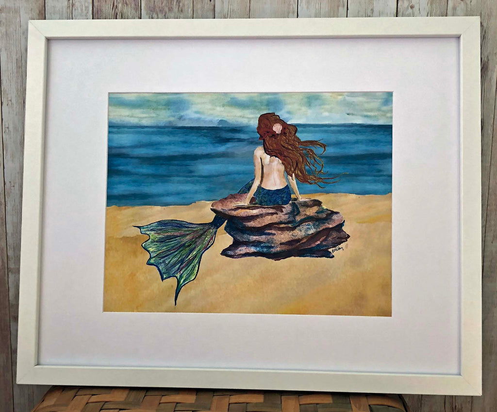 Mermaid on Rock Framed Wall Art