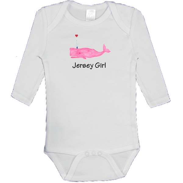 Pink Whale with Heart - Jersey Girl Onesie