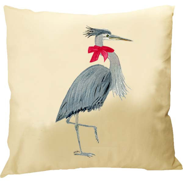 Heron Red Bow Pillow