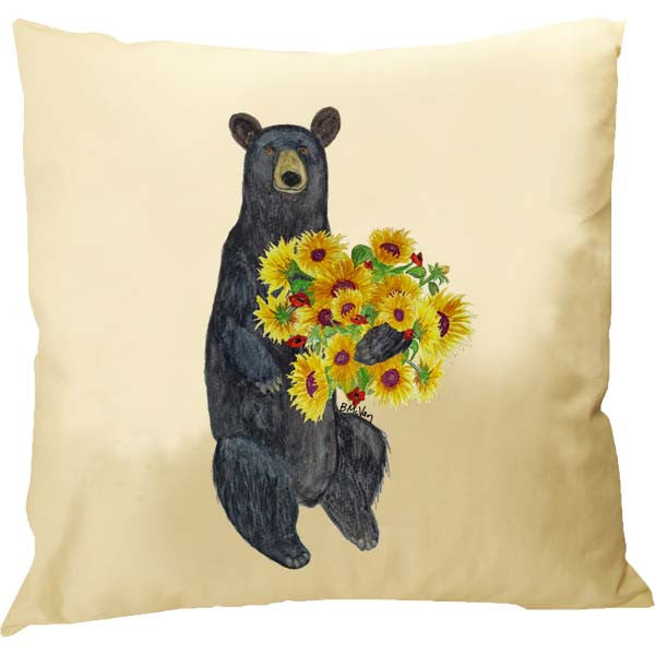 Black Bear Sunflowers Pillow