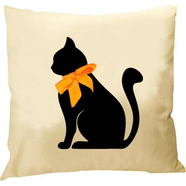 Cat Orange Bow Pillow