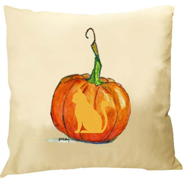 Cat Carved Pumpkin Pillow