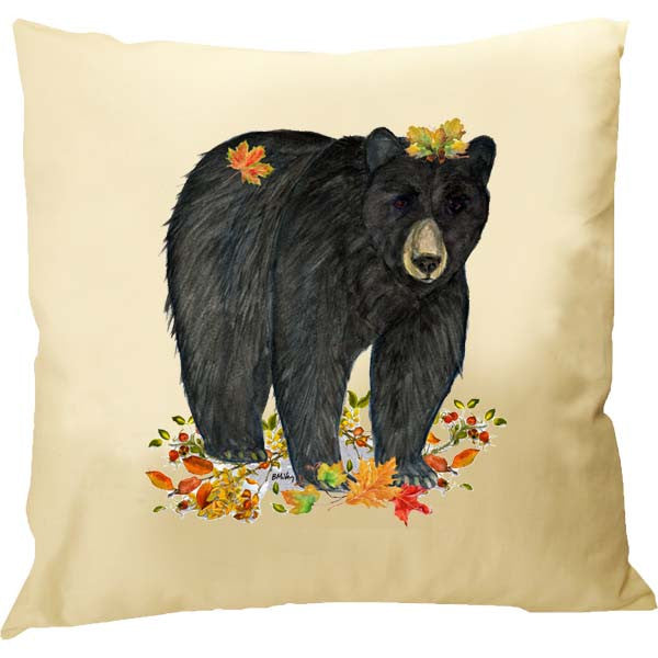 Black Bear Fall Leaves Pillow