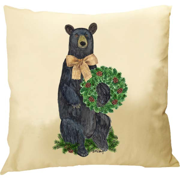Bear Evergreen Wreath Pillow