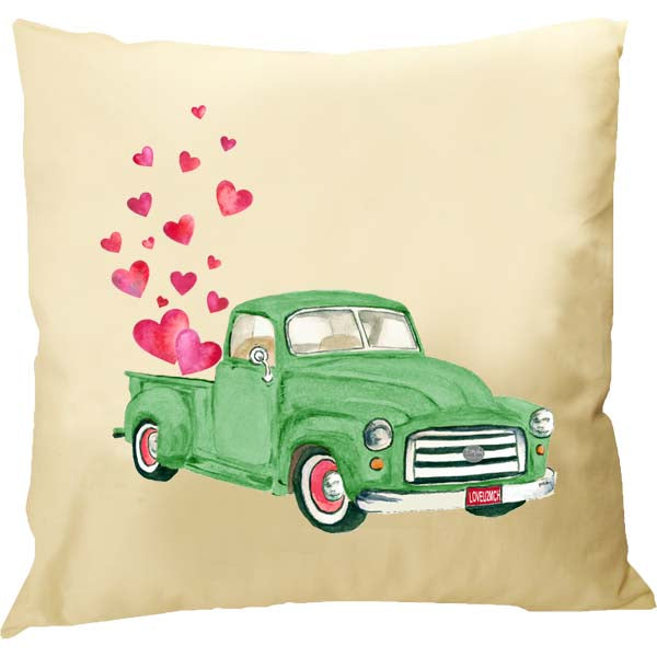Green Truck Hearts Pillow