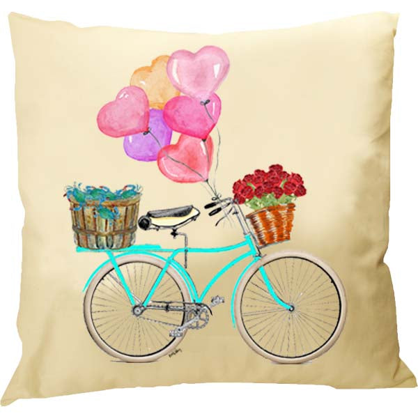 Teal Bike Bushel Crabs and Heart Balloons Pillow