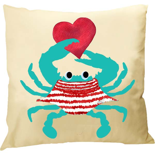 Baby Teal Crab Heart Pillow