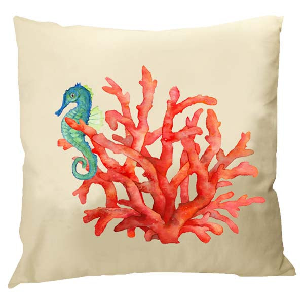 Seahorse in Living Coral Pillow