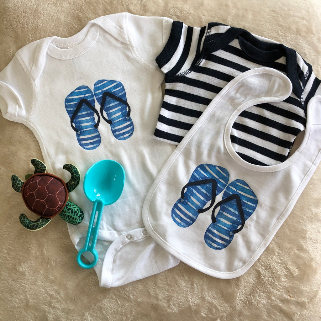 Blue Stripped Flip Flops Bodysuit Set