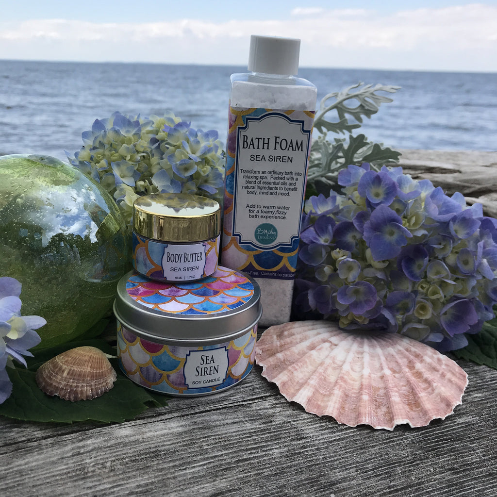 Sea Siren Bath Foam, Mini Body Butter, & Candle Set