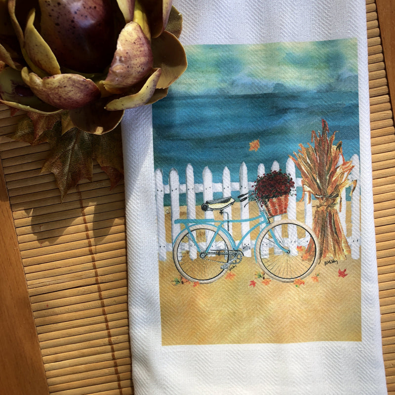 Teal Bike Picket Fence Kitchen Towel