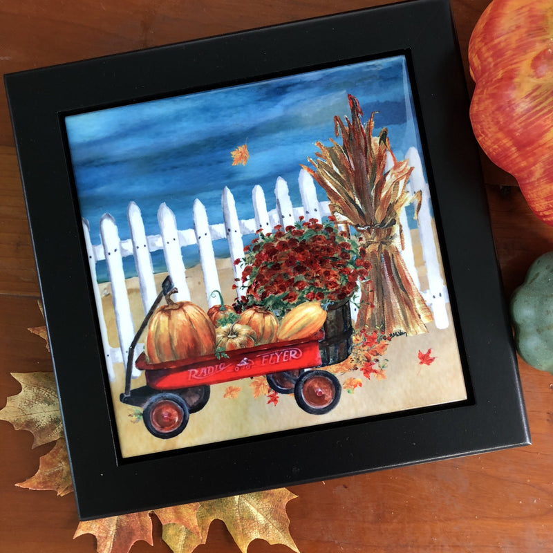Pumpkins in a Radio Flyer Tile Trivet
