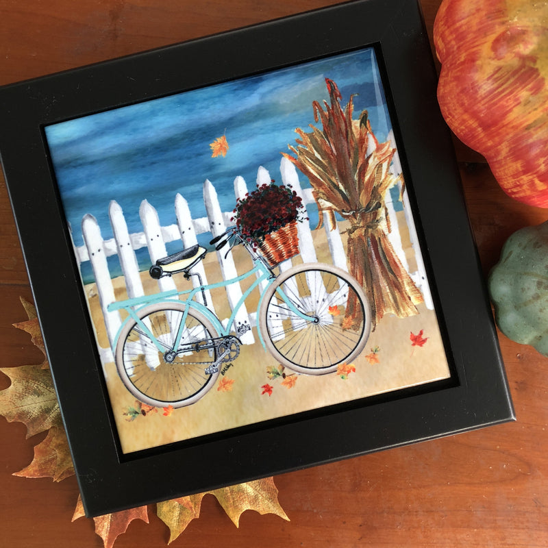 Teal Bike with a Picket Fence Tile Trivet