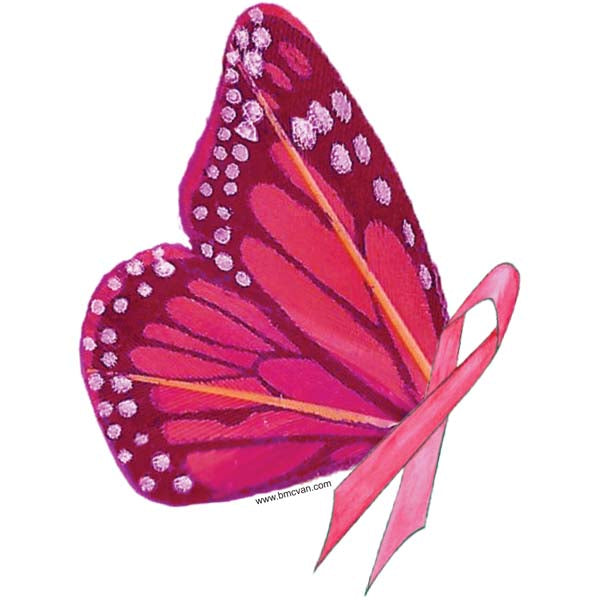 Butterfly-Pink Ribbon All Weather Decal