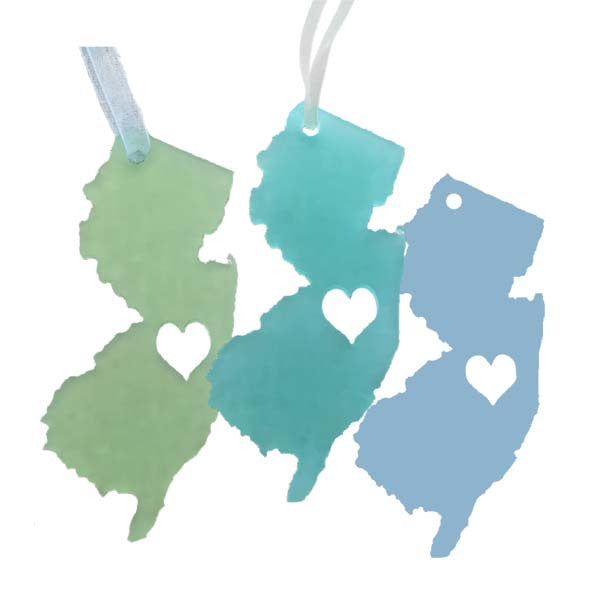 New Jersey Heart Ornaments - Set of 3