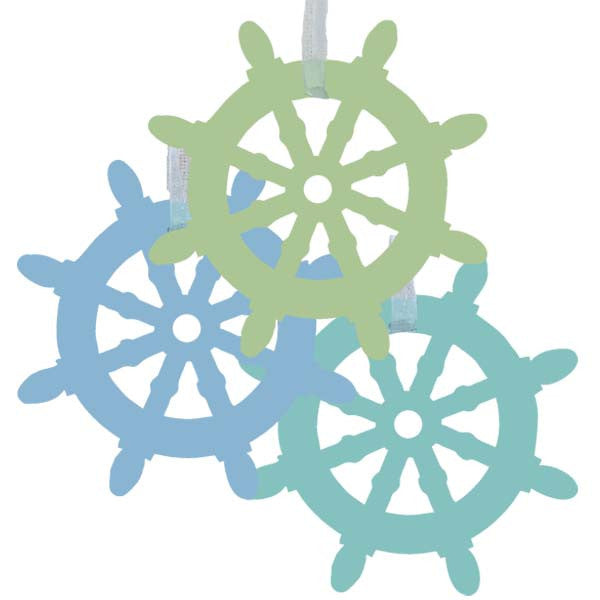 Ship Wheel Ornaments - Set of 3