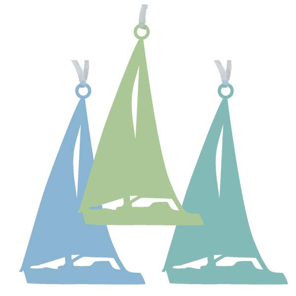 Sailboat Ornaments - Set of 3