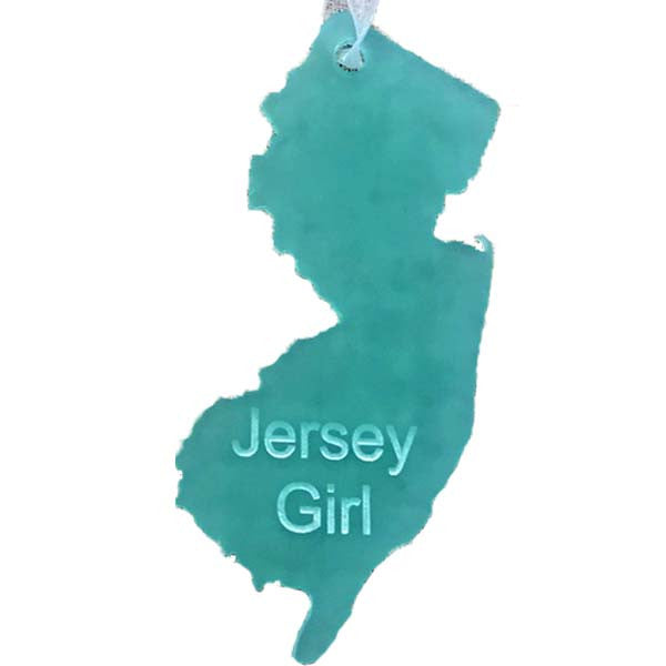 NJ - Jersey Girl Ornament - Sea Glass Teal