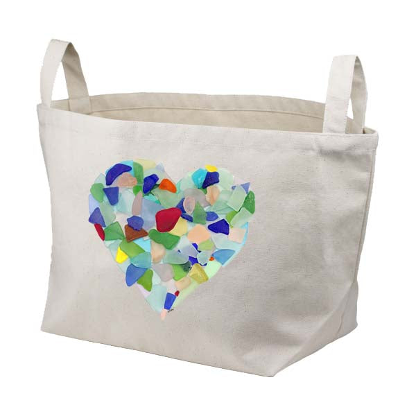 Sea Glass Heart Canvas Basket