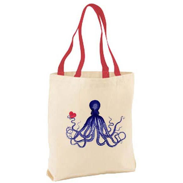 Octopus with Heart Tote Bag