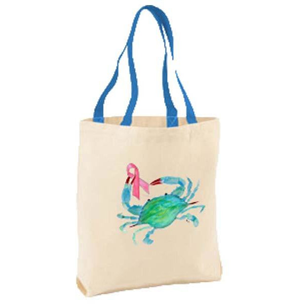 Pink Ribbon Crab Tote Bag
